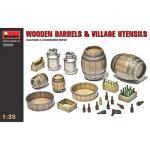 Miniart 1:35 Scale Wooden Barrels & Village Utensils Plastic Model Kit
