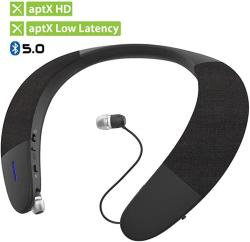 Avantree Wearable Wireless Speaker Bluetooth 5.0 Aptx HD Low Latency Personal Neckband Speakers With Retractable Earbuds Superb