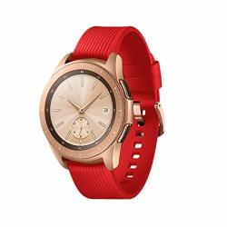 Teckmico Galaxy Watch Bands 20MM Silicone Replacement Bands Compatible For Samsung Galaxy Watch 42MM With Rose Gold Watch Buckle For Women Men Gift Red