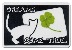 KIN-HEBI Real Four Leaf Clover Preserved Laminated Card Black Version Cutting Picture Dreams Come True. 3.54 X 2.36