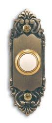 Heath Zenith SL-925-02 Wired Door Chime Push Button Antique Brass With Lighted Center