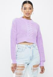 Missguided Cropped Cable Knit Jumper - Lilac