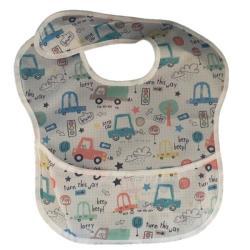 4AKID Waterproof Baby Bib With Crumb Catcher - Cars