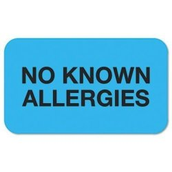 TABBIES No Known Allergies Medical Labels 7 8 X 1-1 2 Light Blue 250 ROLL By