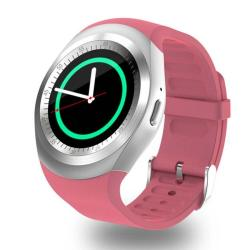 Y1 Round Nano Sim Card Fitness Tracker Smartband Smart Watch With Whatsapp Facebook Support Pedometer Sleep Monitor Music Control Remote Camera Sedentary Reminder Pink