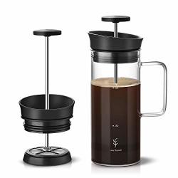 Soulhand French Press Coffee Maker Coffee Press With Micro-filter No Coffee Grounds Heat Resistant Durable Borosilicate Glass Coffee & Tea Brewer 17OZ Perfect For