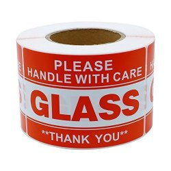 """Hybsk 2""""3"""" Handle With Care Thank You Glass Stickers Adhesive Label 300 Per Roll"""