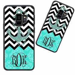 Customized Phone Case For Samsung Galaxy S9 Plus Chevron Anchor Pattern & Vintage European Personalized For Samsung Galaxy S9 Pl