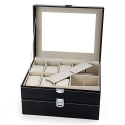 GreenDream 20 Grids Watch Display Case Pu Leather Jewelry Storage Box Organizer