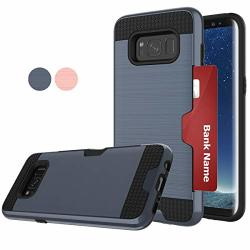 Lodestars Compatible For Samsung Galaxy S8 Not For S8+ Phone Case Ldstars Brushed Texture Tpu & PC Shockproof Protective Phone Cover With Card Slots Holder For
