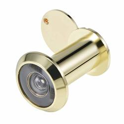 Uxcell Door Viewer Solid Brass 220-DEGREE Door Viewer Peephole With Cover For 35MM-60MM Doors Polished Gold Finish