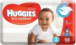 Huggies Dry Comfort 58 Nappies Size 3