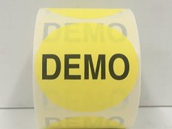 """Labels And More 500 Labels 2"""" Round Yellow Demo Special Handling Shipping Receiving Inventory Control Warehouse Pallet Stickers 1 Roll"""