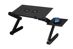 GREAT INNOVATION INDUSTRIAL LIMITED Mommy Frog Desk Black W Double Fans - Affordable Standing Desk Folding Camping Desk Portable Table Breakfast Tray Adjustable Reading Stand Cook Book Stand