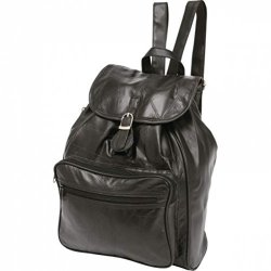 Embassy Bnfusa LULBP3 Black Lambskin Leather Backpack With Interior Slip Pockets