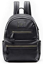 Leather Backpack By Miss Fong Backpack For Girls Laptop Backpack For Women With USB Charger Fits 13 Inch 14 Inch Laptop Black
