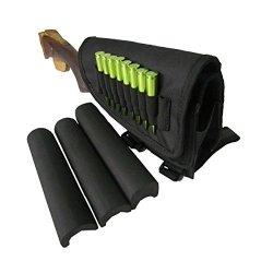 Tourbon Hunting Shooting Rifle Buttstock Cheek Rest Ammo Holder For Left Handy Shooters -black