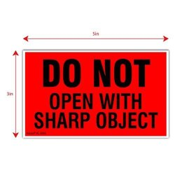 """Kenco 3"""" X 5"""" Do Not Open With Sharp Object Fluorescent Shipping Label Stickers - 500 Labels Per Roll"""