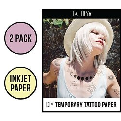 photo relating to Printable Temporary Tattoo Paper titled Tattify Do it yourself Non permanent Tattoo Paper 2 Pack For Inkjet Printers Printable Lengthy Everlasting Tailor made Tattoos At Dwelling Sticker Shift She R475.00  Haircare