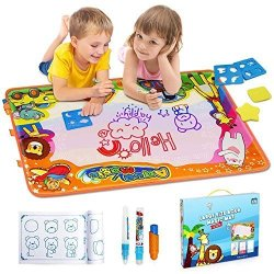 Baztoy Water Drawing Mat Kids Toys Doodle Play Mat Painting Toddlers Magic Writing Doodle Board With Magic Pens Brush For Boys G