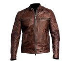 "Ultimo Fashions Men Vintage Distressed Retro Biker Cafe Racer Leather Jackets All Sizes M Chest 46"" Brown Cafe Racer Jacket"