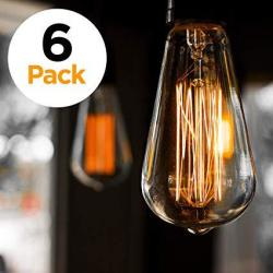 Edison 6-PACK Light Bulb Antique Vintage Style Light Amber Warm Dimmable 60W 110V