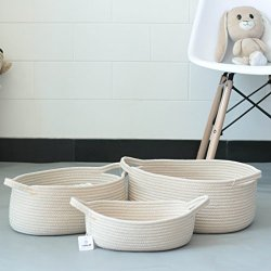 Iceblue Set Of 3 Natural Cotton Rope Storage Basket Soft Foldable Toy Clothes Towels Oraganizer Bins Boxes Home Decor