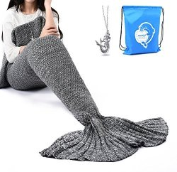 "LAGHCAT Mermaid Tail Blanket Crochet Mermaid Blanket For Adult Soft All Seasons Sleeping Blankets Classic Pattern 71""X35.5"" Gray"