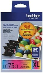 Brother Printer LC753PKS 3 Pack- 1 Each LC75C LC75M LC75Y Ink