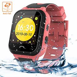 Themoemoe Kids Smartwatch Phone Kids Smartwatch Waterproof Anti-fall 2G Gps lbs Tracker Sos Camera Games Compatible With Android Ios Pink