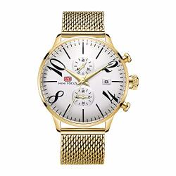 MINI FOCUS Men's Casual Imported Japan Movement Waterproof Watch With Stainless Steel Band And 2 Sub-dails Gold