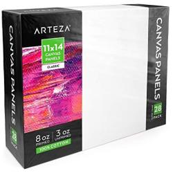 "Arteza 11X14"" White Blank Canvas Panels Boards Bulk Pack Of 28 Primed 100% Cotton For Acrylic Painting Oil Paint & Wet Art Media"
