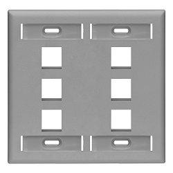 Leviton 42080-6GP 6-PORT Dual Gang Quickport Wallplate With Id Windows Grey