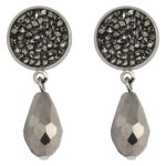 MISS CHIC - Grey Drop Earrings With Grey Stones
