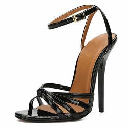 Jessi Maiernisi Unisex Men's Women's Ankle Strap Slingback Stiletto High Heel Dress Sandals Patent Black 43-11.5 WOMEN 10 Men