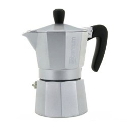 Bialetti Aeternum Allegra - Stovetop Espresso Maker - Aluminium W Black Acrylic Handle & Knob - Silver - 3 Cups
