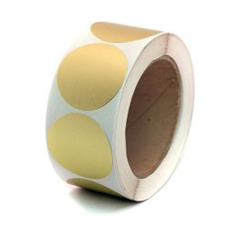 """Wootile 2"""" Paper Copper Metallic Gold Color-code Dot Sticker Labels Permanent Adhesive Write On Surface - 500 ROLL"""