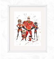 INCREDIBLES Family Prints 2 Disney Watercolor Nursery Wall Poster Holiday Gift Kids And Children Artworks Digital Illustration A