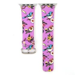38MM Bird Print Band For Apple Watch - Purple
