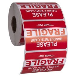 """Kenco 3"""" X 2"""" Fragile Handle With Care Warning Stickers For Shipping And Packing - 500 Permanent Adhesive Labels Per Roll 2 Pack"""