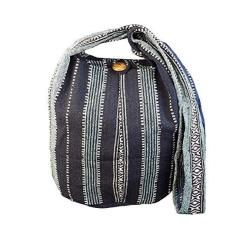 BTP Thai Cotton Sling Bag Purse Crossbody Messenger Hippie Hobo Hand Woven Ikat A45