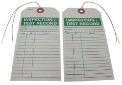 BADGER TAG & LABEL CORP Inspection test Record Tag 3 In. W PK25
