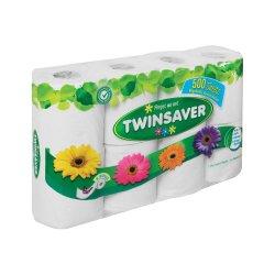 Twinsaver Toilet Paper 1PLY 500 Sheet Rolls White 8'S