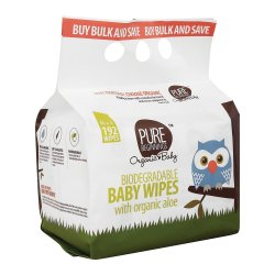 PURE BEGINNINGS Baby Biodegradable Wipes 192'S With Organic Aloe