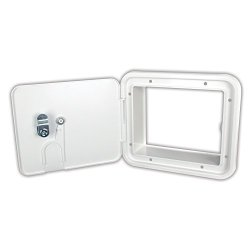JR Products E7132-A Polar White Medium 30 50 Amp Key Lock Electric Cable Hatch