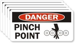 """Smartsign""""danger - Pinch Point"""" Pack Of 5 Labels 1.5"""" X 3"""" Laminated Vinyl"""