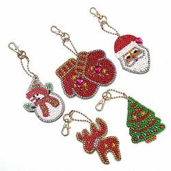 Diamond Painting Keychains 5PCS 5D Diy Full Drill Special Shape Diamond Painting Pendant With Diamonds Arts Crafts For Art Craft Bag Decor Phone Straps