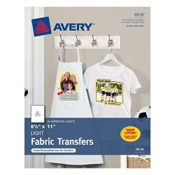 "Avery T-Shirt Transfers For Inkjet Printers For Light Fabric 8.5"" X 11"" 162 Transfers 9 Packs Of 18 Sheets 8938"