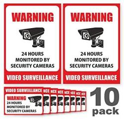 Toros.Store 10 Pack Video Surveillance Sign Stickers - Self-adhesive Vinyl Decal Camera Alarm System Stickers - 24 Hours Security Warning Signs - Monitored By Sec