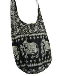 BTP Elephant Sling Crossbody Shoulder Bag Purse Hippie Hobo Thai Cotton Gypsy Bohemian Large Black NE6